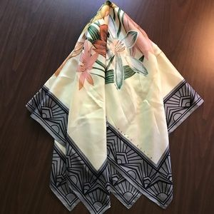 Vintage Perry Ellis 100% Silk Square Scarf Japan